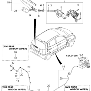 KIA 9881207000 CAP-RR WIPER ARM