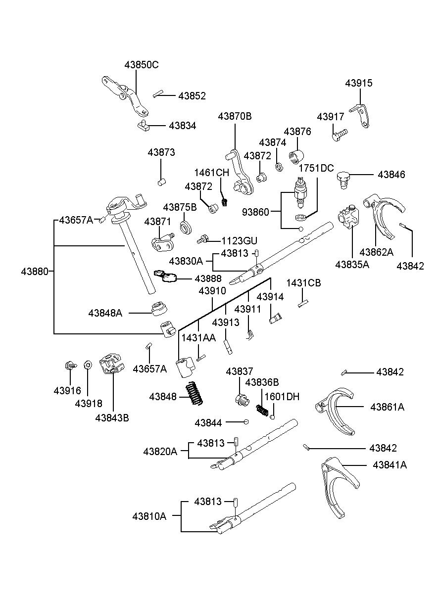 KIA 4382034002 RAIL SUB ASSY-SHIFT