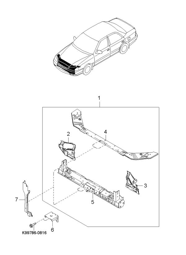 Kia Hyundai 0K9BA5316X DWARSBALK VOORFRONT