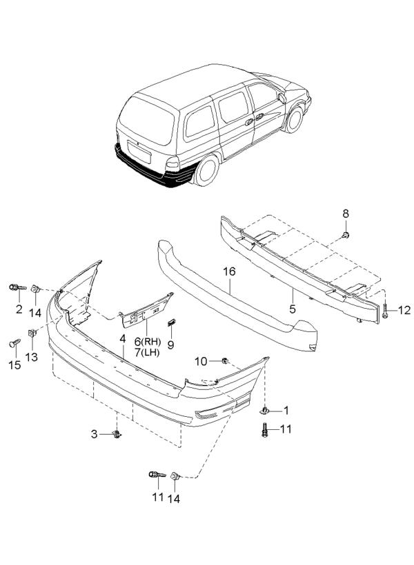 Kia Hyundai 0K9D050222 MONTAGEPLUG R BUMPER