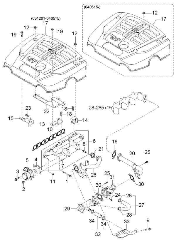 Kia Hyundai 284884A060 GASKET-EGR PIPE