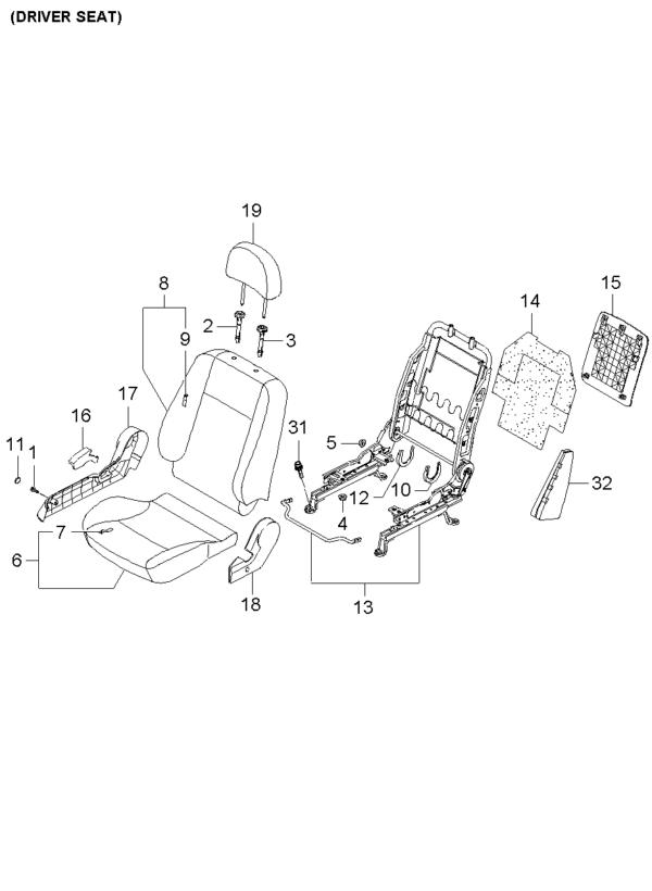Kia Hyundai 8861207000NL SHIELD COVER-FR SEAT LH