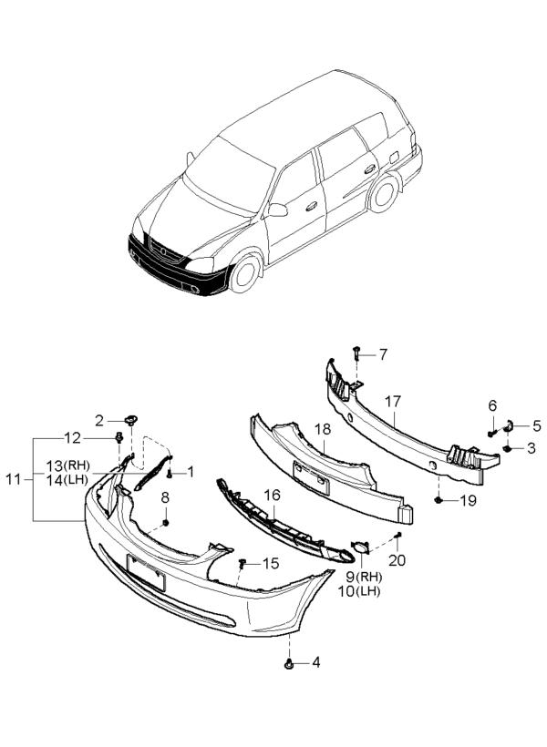 Kia Hyundai 0K2FA50111 E.A FOAM-FRT BUMPER