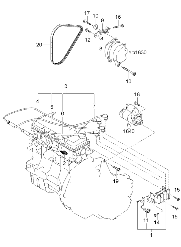 Kia Hyundai 274302X000 CABLE ASSY-SPARK PLUG NO.