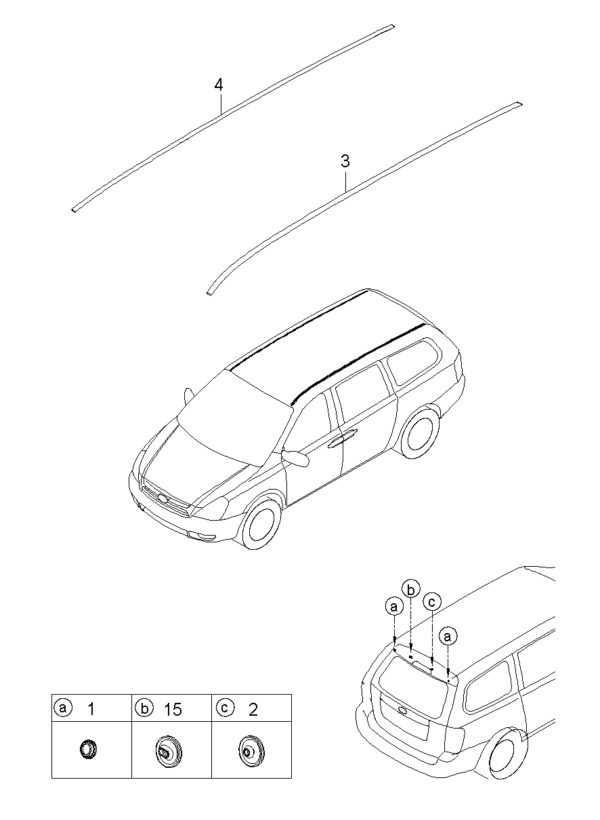 Kia Hyundai 872934D020 CAP-ROOF RACK CTR.LH