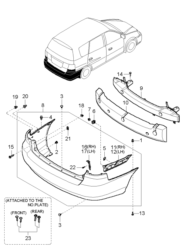 Kia Hyundai 0K2FA50360 SIDE UPR BRKT ASSY-R.BUMP