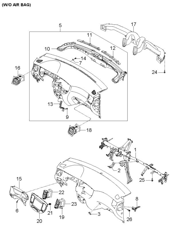 Kia Hyundai 974101G000XI DUCT ASSY-CTR AIR VENT LH
